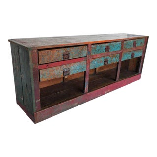 Antique Painted Shop Counter For Sale