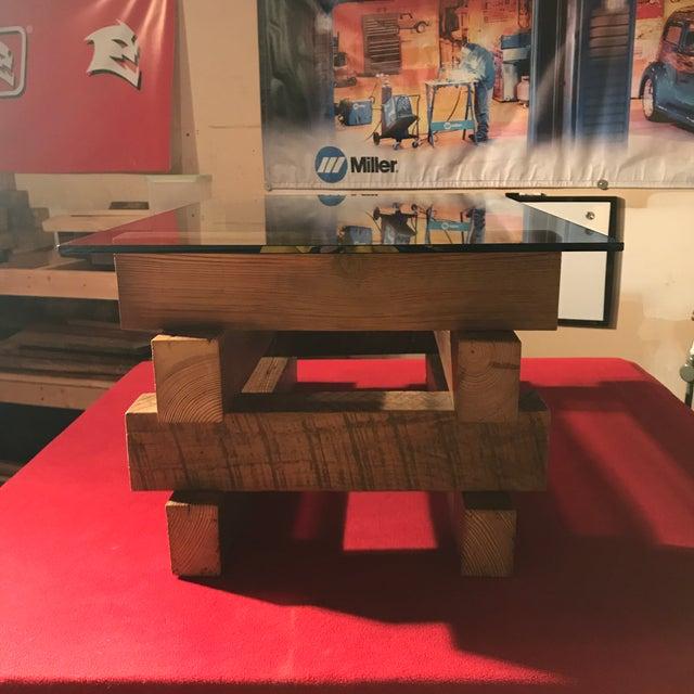 4 x 4 Wood Base Coffee Table - Image 4 of 6
