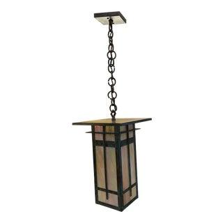 Arroyo Craftsmen Verdigris Finsbury Iridescent Glass Lantern For Sale