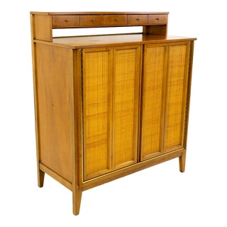 Mid Century Modern West Michigan Furniture Company Caned and Walnut Highboy Dresser For Sale