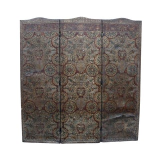 1897 Victorian Embossed Leather Screen Divider For Sale