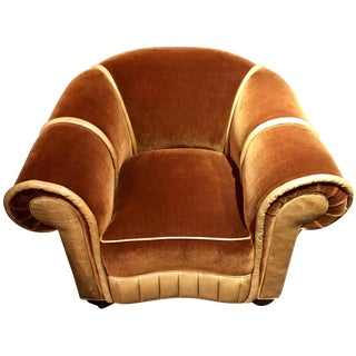 Art Deco Mohair and Leather Glamour Club Chair Hollywood For Sale