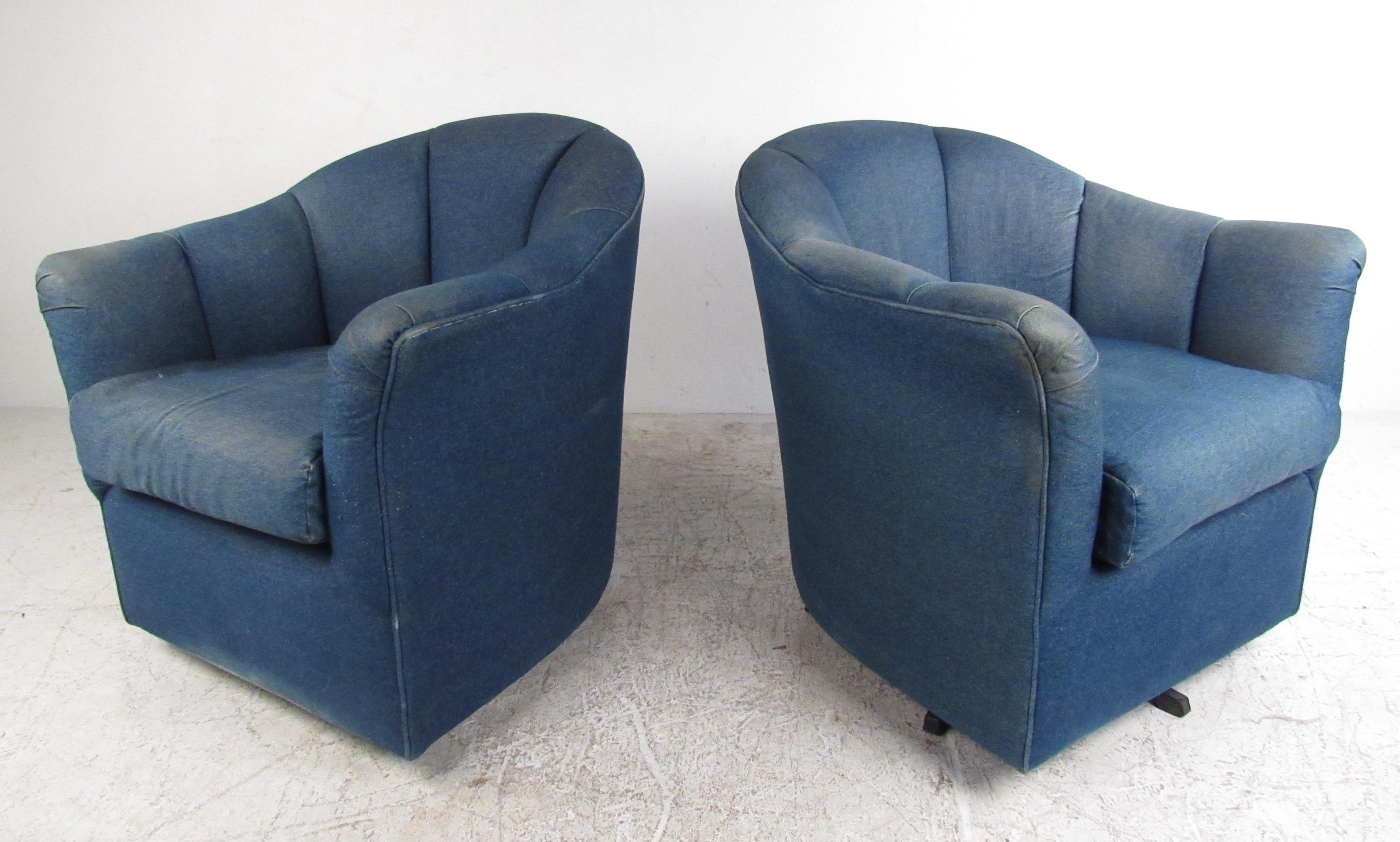 Merveilleux This Comfortably Upholstered Pair Of Chairs Features Denim Covering,  Comfortable Overstuffed Cushioning, And Swivel