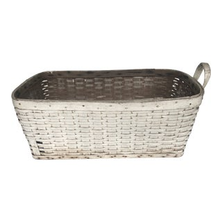 1920s Oak White Laundry Basket with Handle For Sale