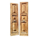 Image of French Oak Haussmann-Paris Era Panel Doors With Cream Painted Backs - a Pair #1 For Sale