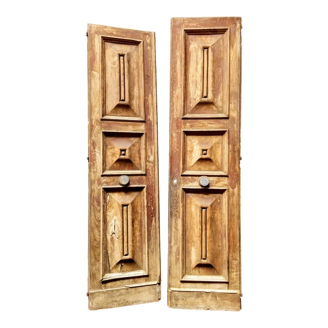 French Oak Haussmann-Paris Era Panel Doors With Cream Painted Backs - a Pair #1 For Sale