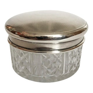Cut Glass Sterling Lid Box For Sale