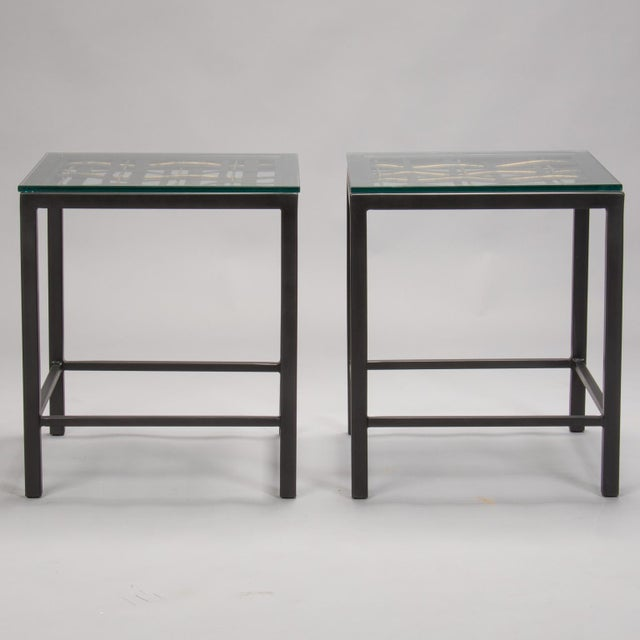 Glass Pair Custom End Tables Made with French Metal Grill For Sale - Image 7 of 7