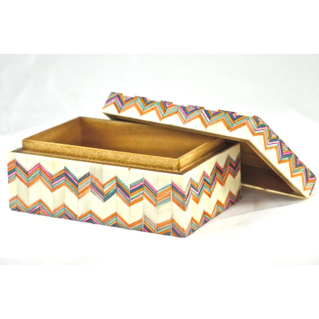 1970s Inlaid Bone Chevron Box For Sale - Image 5 of 8