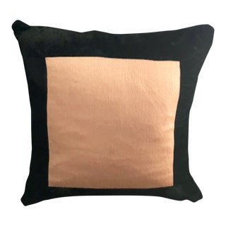 "24"" Waterford Gold Satin and Black Velvet Pillow For Sale"