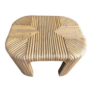 Gabriella Crespi Style Split Pencil Reed Rattan Coffee Table For Sale