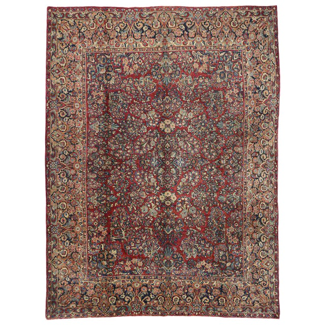 1900s Antique Persian Sarouk Neoclassical Style Rug- 8′10″ × 11′10″ For Sale