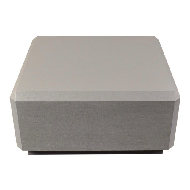 Karl Springer Style Lacquered Grass Cloth Coffee Table For Sale