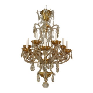 French 1920s Gilt Metal Chandelier