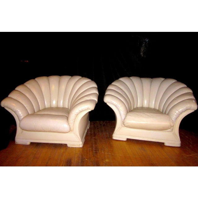 1930s Vintage French Art Deco Scalloped Back Clamshell Leather Lounge Chair- a Pair For Sale - Image 11 of 11