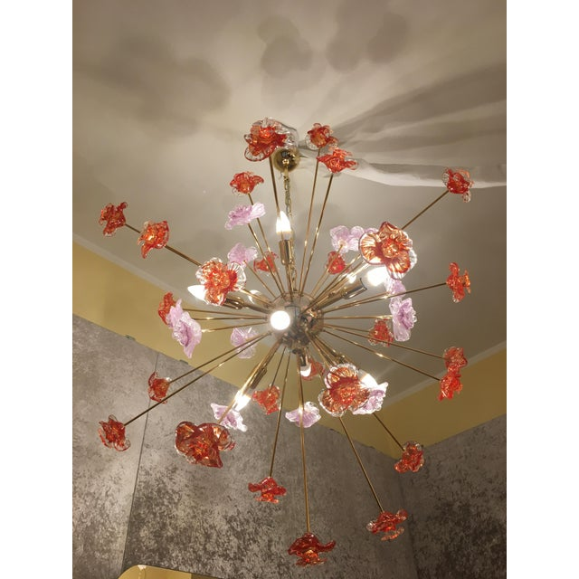 2010s Murano Glass Triedo Sputnik Flower Chandelier For Sale - Image 5 of 8