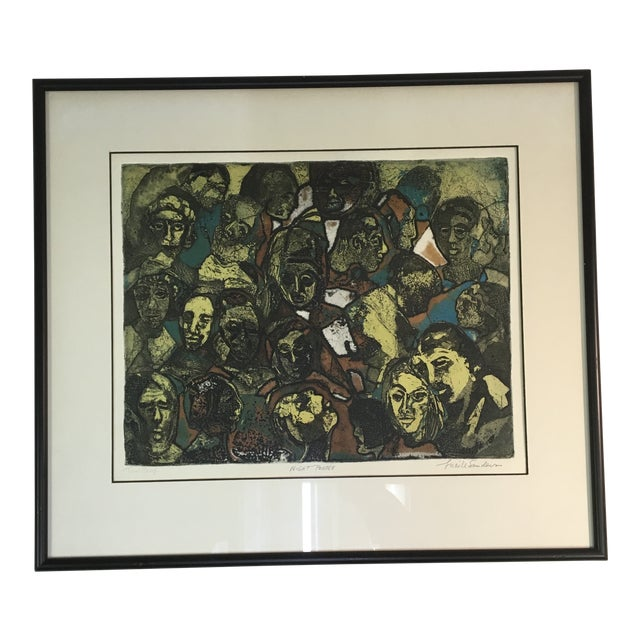 """1970s """"Night People"""" Figurative Etching by Lucile H. Sanders, Framed For Sale"""