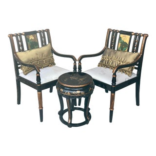 1980s Vintage Lacquered Chinoiserie Three Piece Chair and Table Set- Set of 3 For Sale