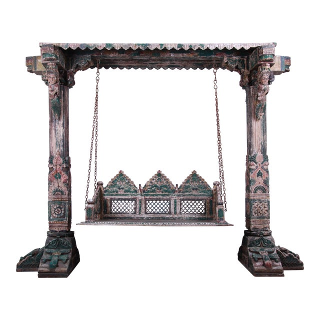 18th Century Ornate Carved Indian Jhula Bench Swing For Sale