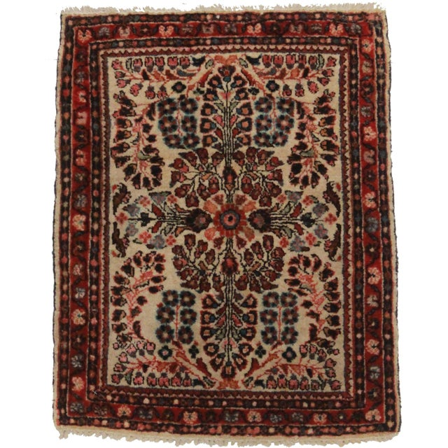 RugsinDallas Antique Hand-Knotted Wool Persian Sarouk Oriental Rug- 1′10″ × 2′4″ - Image 1 of 2