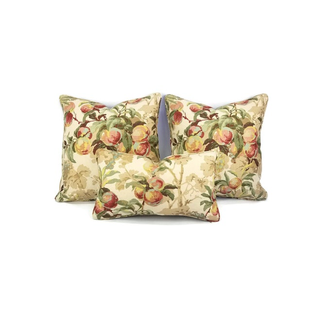 """Brunschwig & Fils Peach Tree in Beige and Blue Linen Print Pillow Cover - 20"""" X 20"""" For Sale In Portland, OR - Image 6 of 7"""