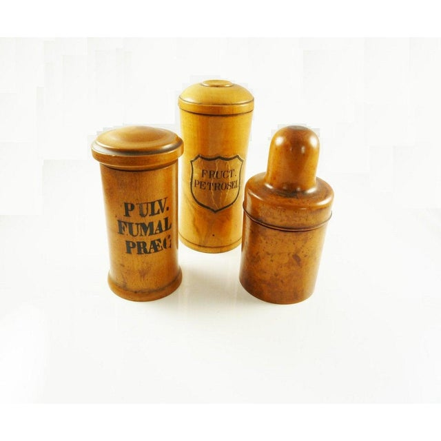 Antique Wood Spice Boxes Set of Six Containers Manufactured by Patent Package Co Allspice Cinnamon Ginger For Sale - Image 10 of 11