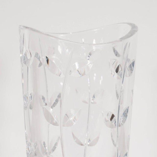 Lovely Large Modernist Crystal Vase With Incised Foliate Patterns By