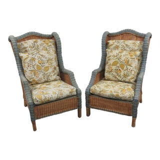 Wicker Wingback Chairs - A Pair For Sale