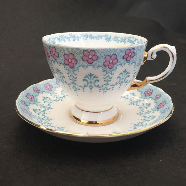 Floral Fine English Blue Bone China Tea Cup & Saucer - Image 2 of 5