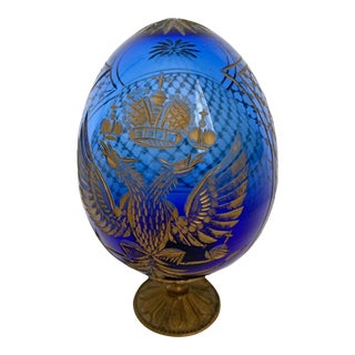 Cobalt Cut Glass Egg With the Russian Coat of Arms For Sale