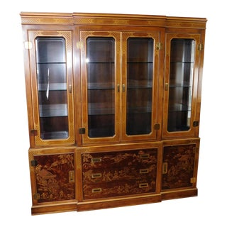 Drexel Heritage Asian Campaign Style Dynasty Collection Walnut Dining Room China Cabinet