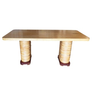 Restored Large Blonde Rectangle Rattan Dining Table With Mahogany Top For Sale