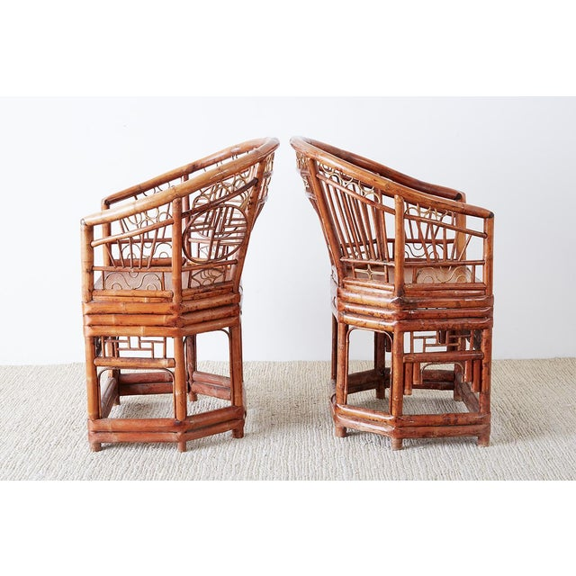 Mid 20th Century Set of Four Brighton Pavillion Style Bamboo Armchairs For Sale - Image 5 of 13