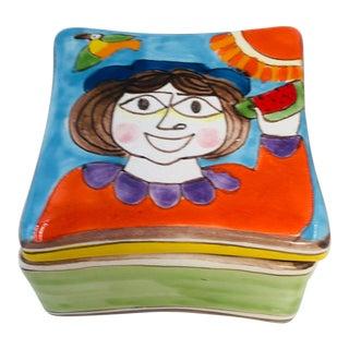 1960s Italian DeSimone Pottery Cubist Style Lidded Box For Sale