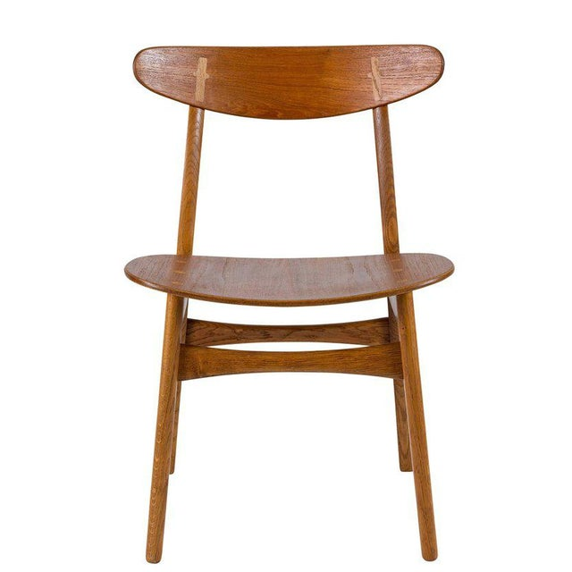 Rustic Set of Eight Hans Wegner CH 30 Dining Chairs For Sale - Image 3 of 10