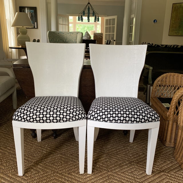 White Made Goods Faux Shagreen Side Chairs- a Pair For Sale - Image 11 of 11