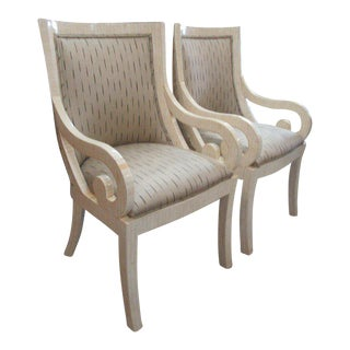 70's Tessellated Bone Carved Dining Chairs - A Pair