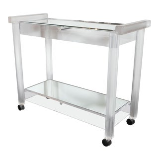 Mid-Century Modern Recilinear Mirrored Lucite Bar Cart by the Lion Frost Company For Sale