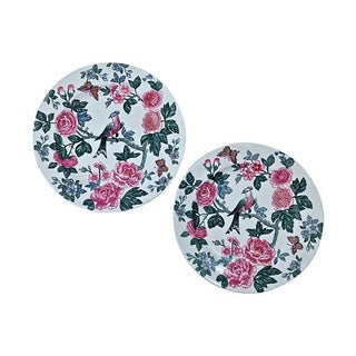 Exotic Birds & Roses Plates - Pair