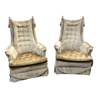 1970s Vintage Hollywood Regency Style Velvet Tufted Tassel Club Chairs - A Pair For Sale