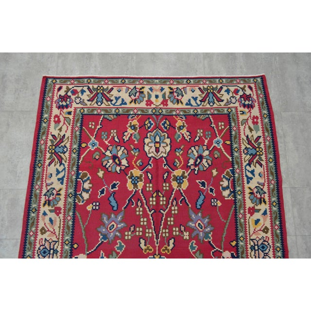 Vintage Hand Woven Wool Floral Kilim - 5′2″ × 7′6″ For Sale - Image 6 of 8