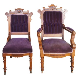 19th Century Victorian Eastlake Walnut Carved Parlor Chairs-a Pair For Sale