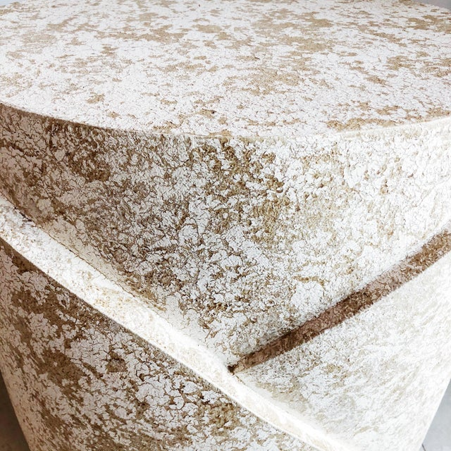 Vintage Sculptural Textured Plaster Cylindrical Pedestal Tables - a Pair For Sale In West Palm - Image 6 of 9