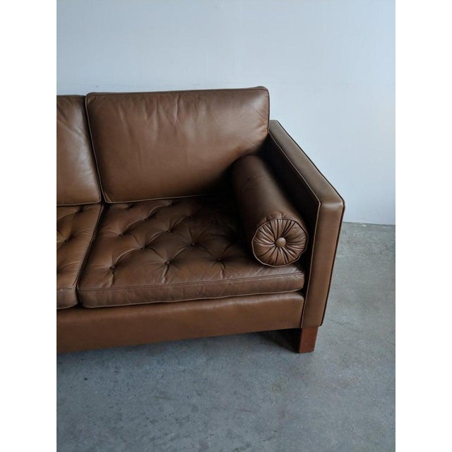 Mies Van Der Rohe Brown Leather Settee for Knoll International For Sale In Providence - Image 6 of 11