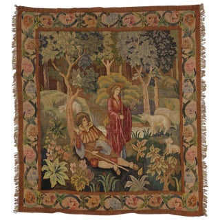 "Antique French Aubusson Tapestry, Shepherd and Shepherdess Verdure Wall Hanging - 5'8"" X 6'6"" For Sale"