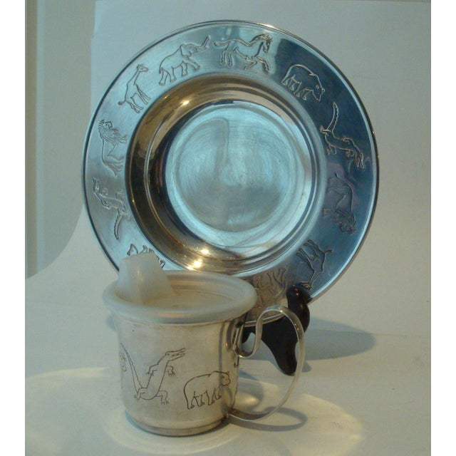 Vintage Napier Animal Safari Circus Zoo Baby Dish & Cup For Sale In Richmond - Image 6 of 6