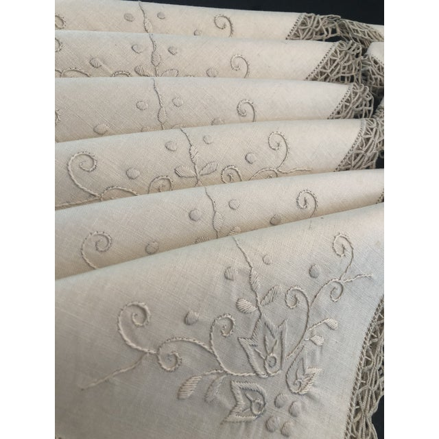 Vintage Italian Linen Napkins Hand-Embroidered Reticella - Set of 12 For Sale - Image 4 of 13