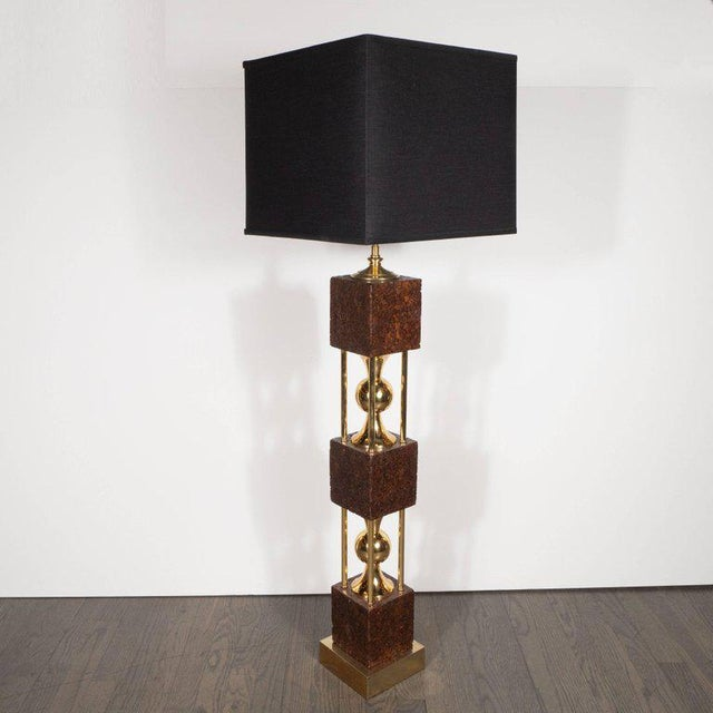 Mid-Century Modern Pair of Sculptural Mid-Century Modern Polished Brass and Cork Table Lamps For Sale - Image 3 of 8