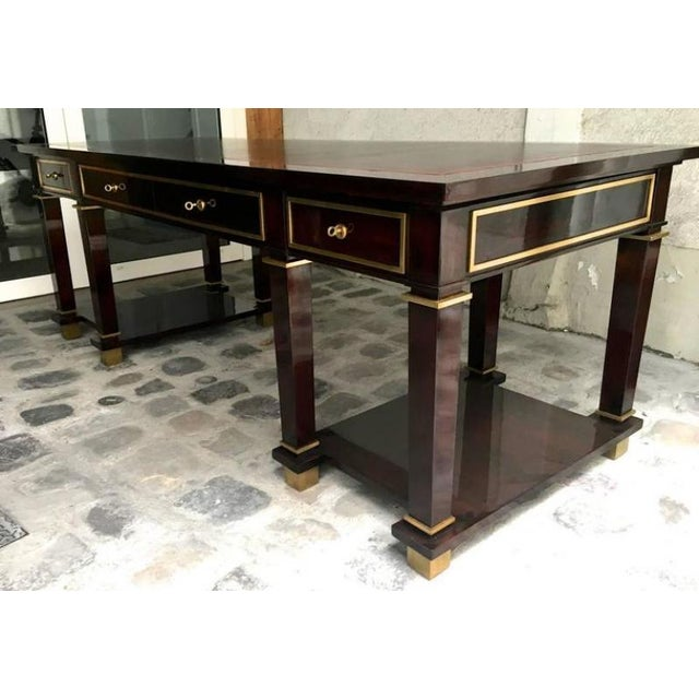 Jacques Adnet exceptional quality neoclassic large president desk with leather top, four drawers and gold bronze hardware,...