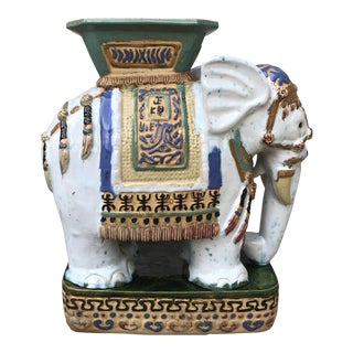 1970s Hollywood Regency Ceramic Elephant Garden Stool